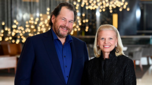Salesforce CEO Marc Benioff with IBM CEO Ginni Rometty