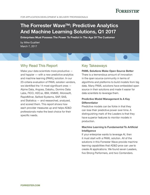 FORRESTER REPORT ON DATA SCIENCE ML 01