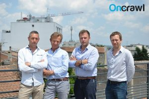 OnCrawl associates from left to right: Tanguy Moal (CTO), Lionel Kappelhoff-Lançon (VP Customer Success), François Goube (CEO) and Philippe David (VP Engineer)