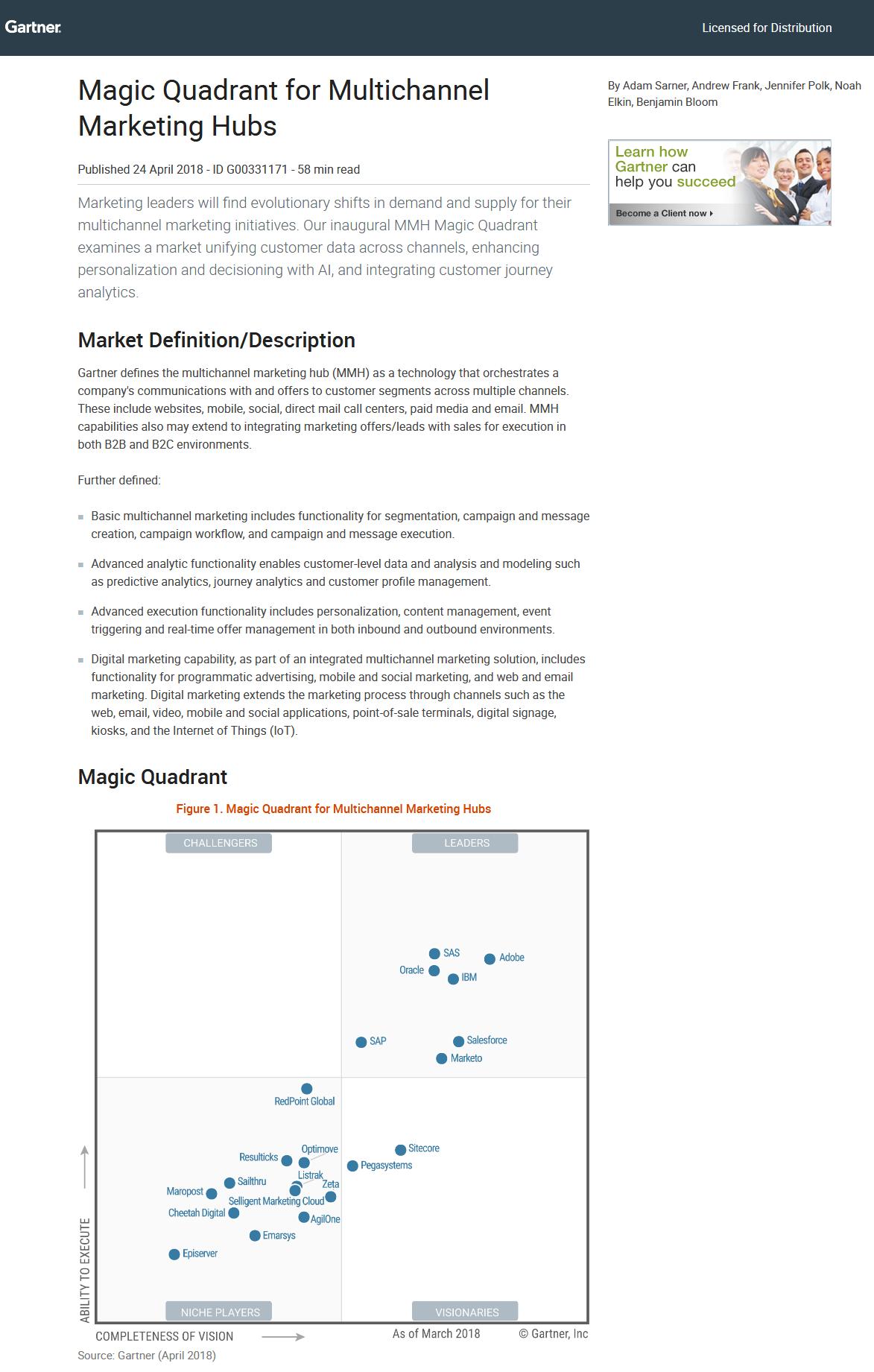 Magic Quadrant for Multichannel Marketing Hubs