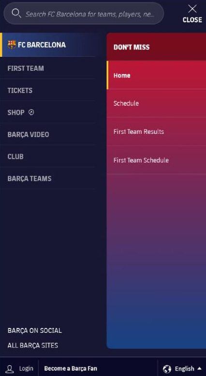 FCB Mobile Menu Tab