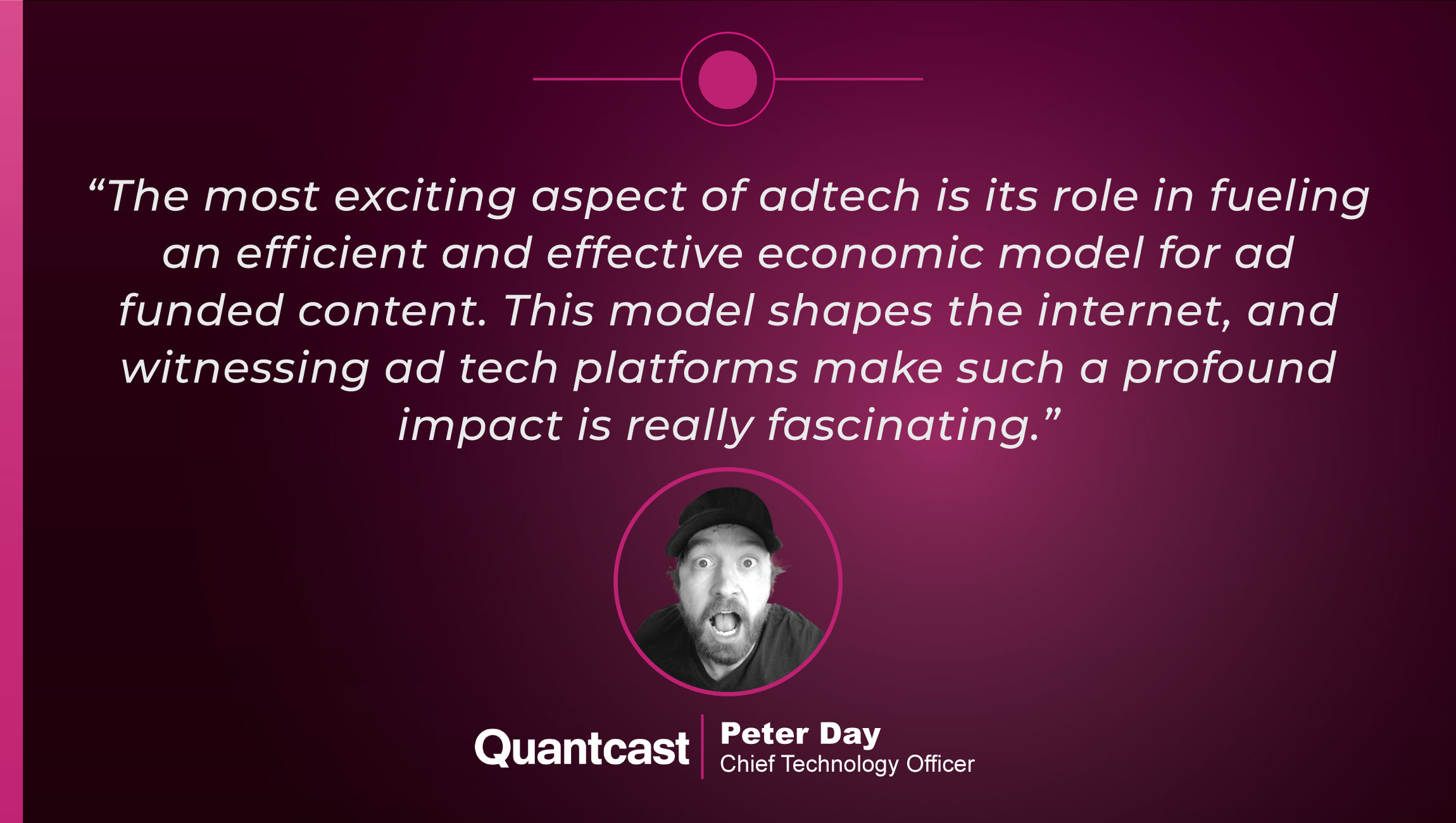TechBytes with Peter Day, Chief Technology Officer at Quantcast cue card